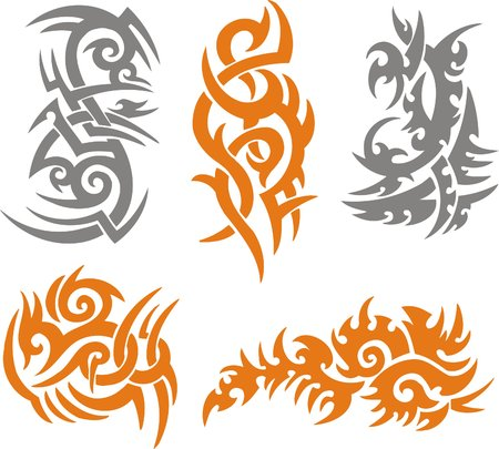 powerful: Tribal Tattoo Set Vector Illustration. Collection