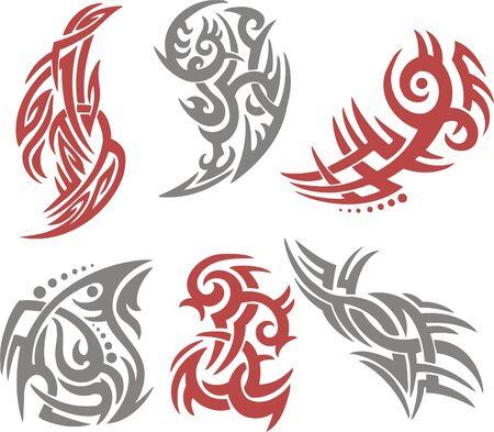 tribali: Tribal Tattoo Imposta Vector Illustration. Insieme