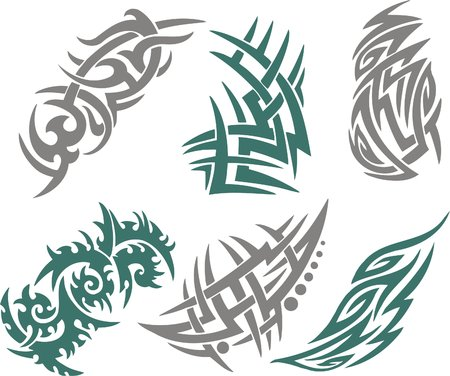 sharp curve: Tribal Tattoo Set Vector Illustration. Collection