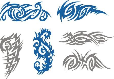 tattoo traditional: Tribal Tattoo insieme vettoriale illustrazione. Collezione