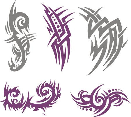 traditional tattoo: Tribal Tattoo Set Vector Illustration. Collection