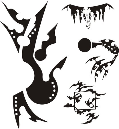 vile: Some vile drawings: on one the skull of an animal with black horns is represented. Crazy Tribals. Vector illustration ready for vinyl cutting.