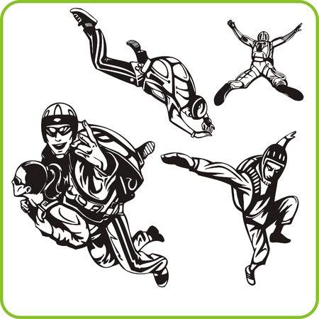 Parachute jump. Extreme sport. Vector illustration. Vinyl-ready. Vector