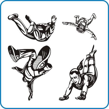 skydiving: Parachute jump. Extreme sport. Vector illustration. Vinyl-ready.