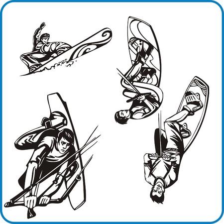 Surfing - water sport. Extreme sport. Vector illustration. Vinyl-ready.  Vector