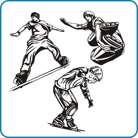 Roller. Extreme sport. Vector illustration. Vinyl-ready. Stock Vector - 8070302