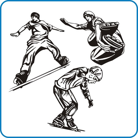 combative sport: Roller. Extreme sport. Vector illustration. Vinyl-ready.