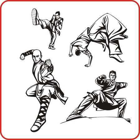 combative: Karate. Extreme sport. Vector illustration. Vinyl-ready.