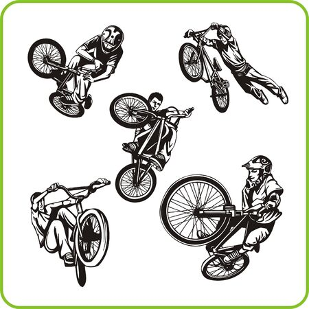 stunt: Boy on bicycle. Extreme sport. Vector illustration. Vinyl-ready.