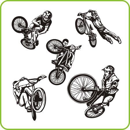 stunts: Boy on bicycle. Extreme sport. Vector illustration. Vinyl-ready.