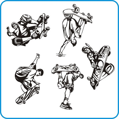 Skateboard. Extreme sport. Vector illustration. Vinyl-ready. Stock Vector - 8070274
