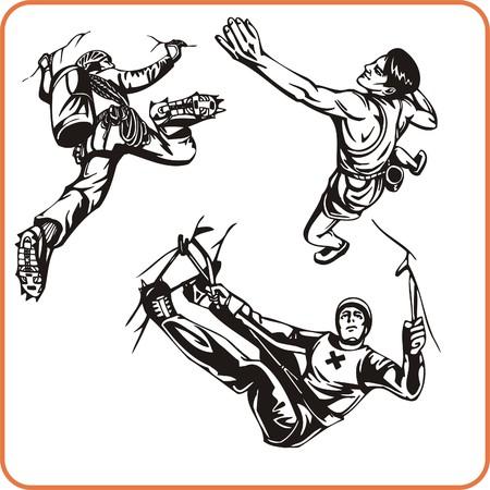Trepadora de rock. Deportes extremos. Ilustración vectorial. Listas para vinilo.