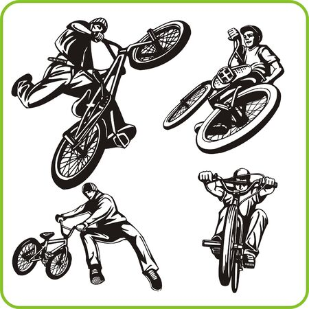 agility people: Boy on bicycle. Extreme sport. Vector illustration. Vinyl-ready.