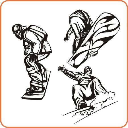 snowboarding: Snowboard. Extreme sport. Vector illustration. Vinyl-ready.