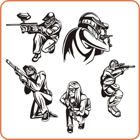 move gun: Paintball. Extreme sport. Vector illustration. Vinyl-ready.