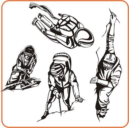 bergsteiger: Kletterer. Extremsport. Vektor-Illustration. Vinyl-Ready. Illustration