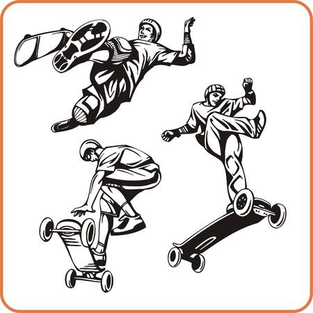 combative sport: Skateboard. Extreme sport. Vector illustration. Vinyl-ready. Illustration