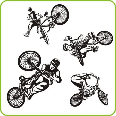 Ragazzo in bicicletta. Sport estremo. Illustrazione vettoriale. Vinile.