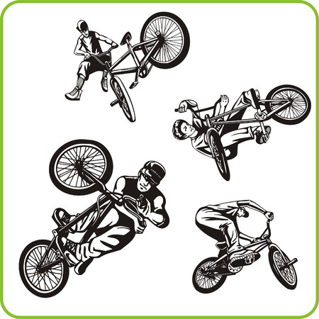 stunts: Ragazzo in bicicletta. Sport estremo. Illustrazione vettoriale. Vinile.