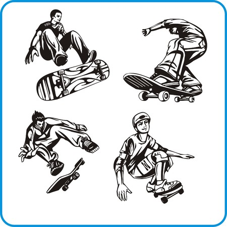 agility people: Skateboard. Extreme sport. Vector illustration. Vinyl-ready. Illustration