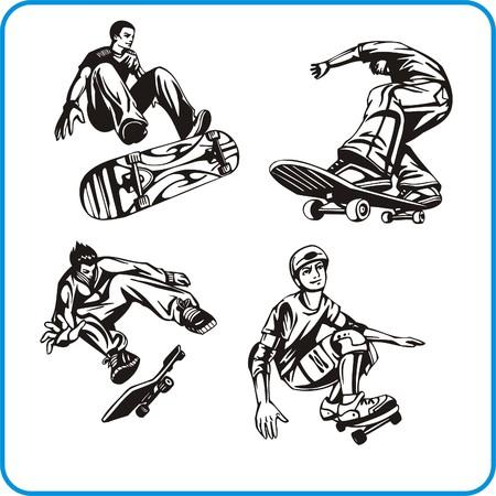 brave of sport: Skateboard. Extreme sport. Vector illustration. Vinyl-ready. Illustration