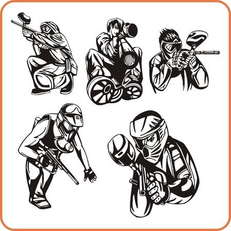 daring: Paintball. Extreme sport. Vector illustration. Vinyl-ready.