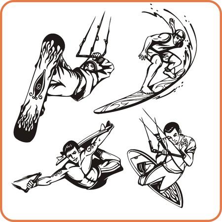 Surf - sport nautique. Sport extrême. Vector illustration. Vinyle-prêt.