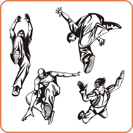 agility people: Jump. Extreme sport. Vector illustration. Vinyl-ready Illustration