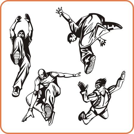 skydiving: Jump. Extreme sport. Vector illustration. Vinyl-ready Illustration