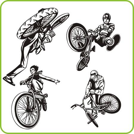 Boy on bicycle. Extreme sport. Vector illustration. Vinyl-ready. Vector