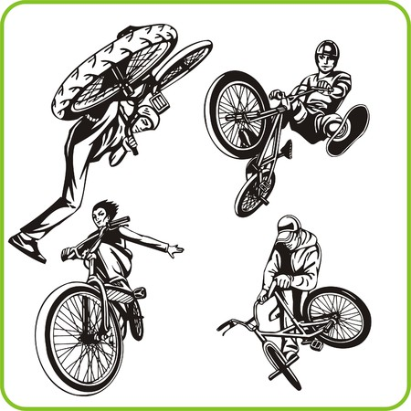 combative sport: Boy on bicycle. Extreme sport. Vector illustration. Vinyl-ready.