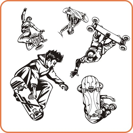 competitive sport: Skateboard. Extreme sport. Vector illustration. Vinyl-ready. Illustration