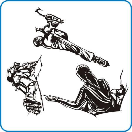 conquest: Climber. Extreme sport. Vector illustration. Vinyl-ready.