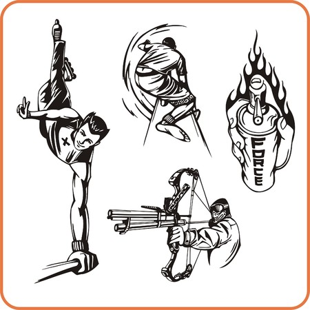 combative sport: Extreme sport. Vector illustration. Vinyl-ready