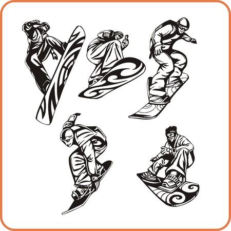 agility: Snowboard. Extreme sport. Vector illustration. Vinyl-ready.