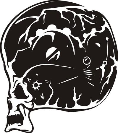 Cyber Skull - illustration. Ready for vinyl cutting. Stock Vector - 8132084
