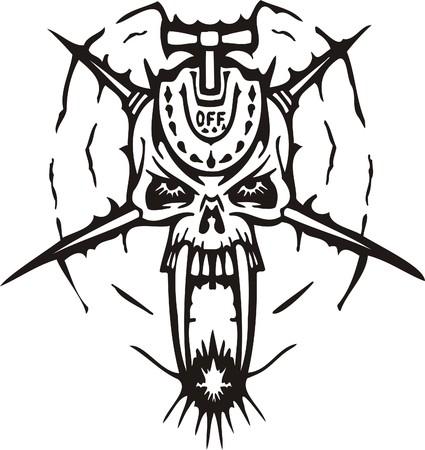 Cyber Skull - illustration. Ready for vinyl cutting. Stock Vector - 8132073