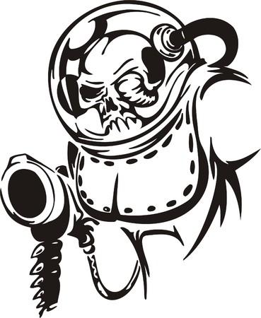 Cyber Skull - illustration. Ready for vinyl cutting.  Stock Vector - 8132166