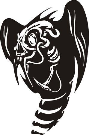 Cyber Skull - illustration. Ready for vinyl cutting. Stock Vector - 8132099
