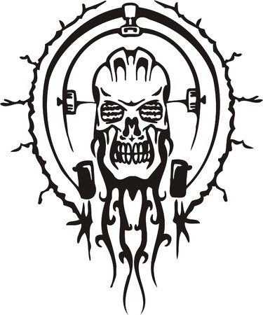 Cyber Skull - illustration. Ready for vinyl cutting.  Stock Vector - 8132178