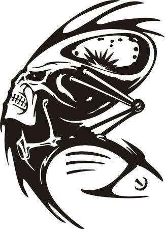 gruselig: Cyber Skull - Abbildung. F�r Vinyl-Cuttings bereit.  Illustration