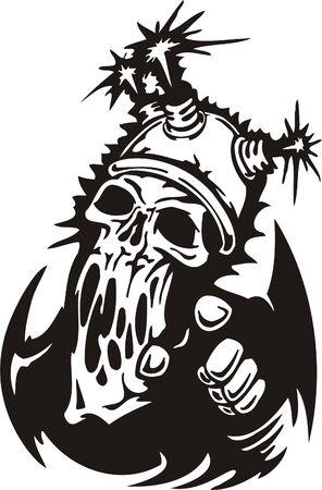 Cyber Skull - illustration. Ready for vinyl cutting.  Stock Vector - 8132174