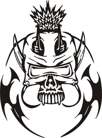 Cyber Skull - illustration. Ready for vinyl cutting.  Stock Vector - 8132089