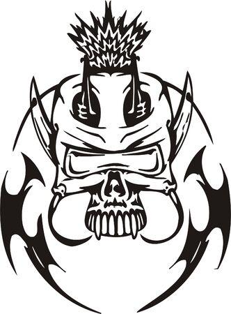 Cyber Skull - illustration. Ready for vinyl cutting. Stock Vector - 8132089
