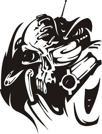 Cyber Skull - illustration. Ready for vinyl cutting. Stock Vector - 8132127