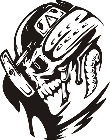 Cyber Skull - illustration. Ready for vinyl cutting. Stock Vector - 8132102