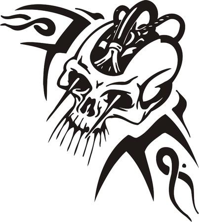 cyborg: Cyber Skull - illustration. Ready for vinyl cutting.