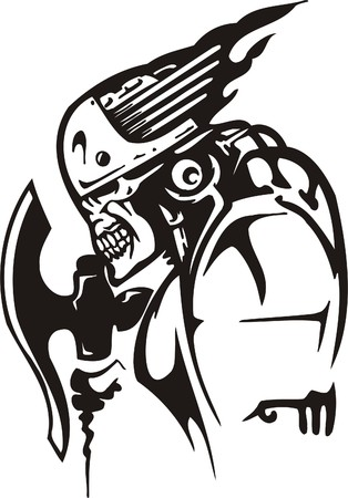 Cyber Skull - illustration. Ready for vinyl cutting. Stock Vector - 8132128