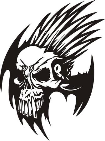 Cyber Skull - illustration. Ready for vinyl cutting. Stock Vector - 8132182