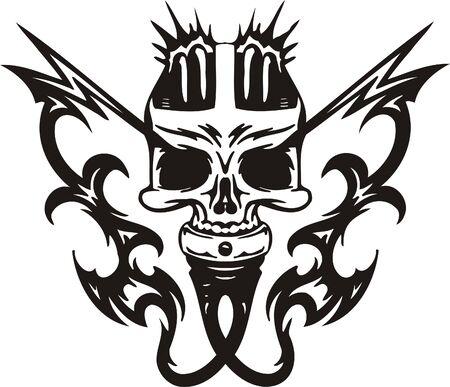 Cyber Skull - illustration. Ready for vinyl cutting. Stock Vector - 8132069
